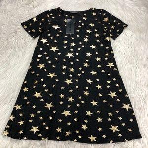 NWT Jeuvre Metallic Start Print Shift Dress